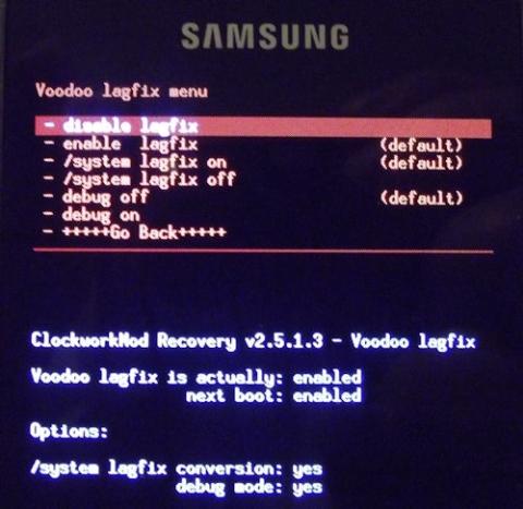 Menú de Voodoo Lagfix visto desde el Modo Recovery de ClockWorkMod